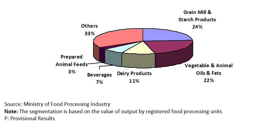 India - Food Processing Industry by Segment (%), 2012-13 (P)