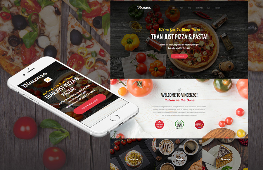 Vincenzo - Delicious Pizza Restaurant Moto CMS 3 Template