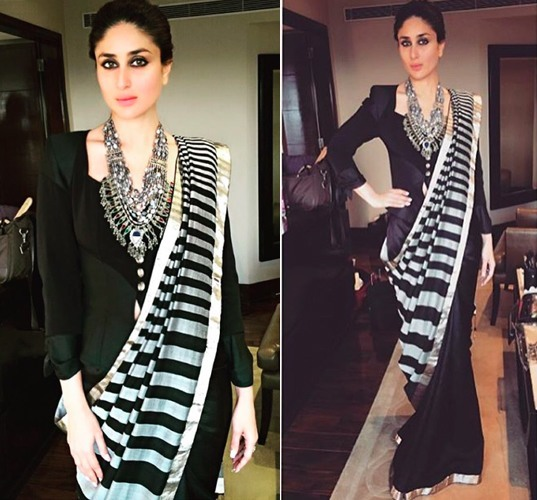 kareena-kapoor-black-saree -statement necklace